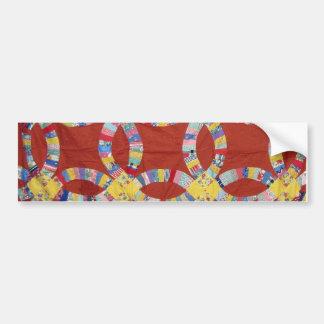 Red Wedding Ring Quilt Bumper Sticker