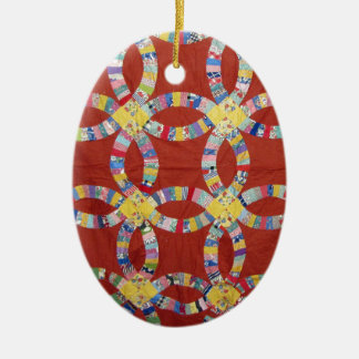 Red Wedding Ring Quilt Double-Sided Oval Ceramic Christmas Ornament
