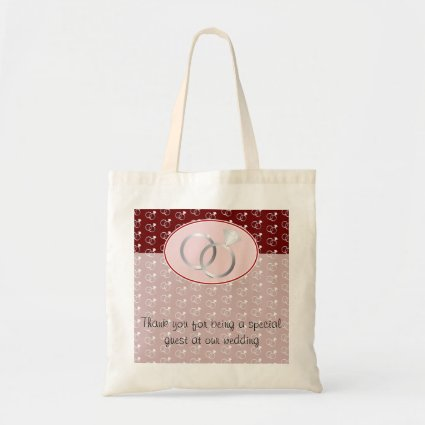 Red Wedding Rings Pattern Budget Tote Bag