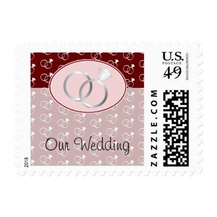 Red Wedding Rings Pattern Postage Stamp