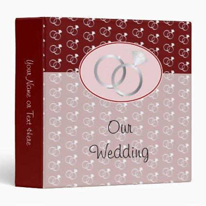 Red Wedding Rings Pattern Vinyl Binders