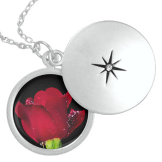 Red Wedding Rose Sterling Silver Necklace