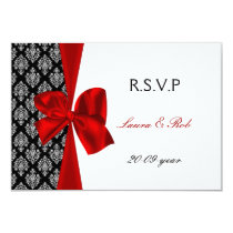 red, wedding rsvp cards standard 3.5 x 5