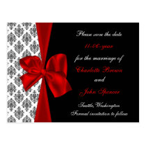 red wedding  save the date announcement postcard