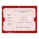 Red Wedding Ticket RSVP Card Invitation