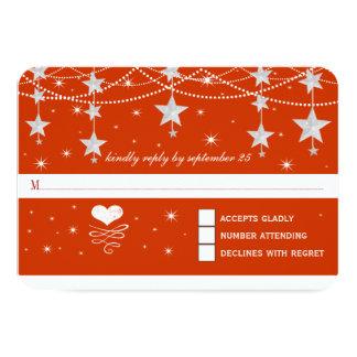 Red Wedding Under the Stars RSVP Card