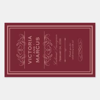 Red Wedding Wine Bottle Monogram Favor Labels Rectangular Sticker