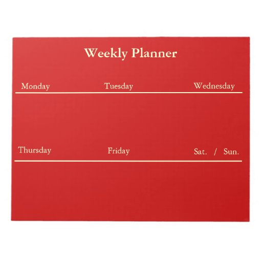 Red Weekly Planner Notepad