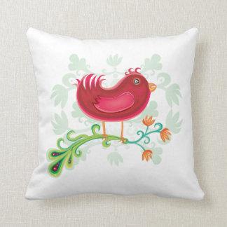 Red Weird Bird Throw Pillows