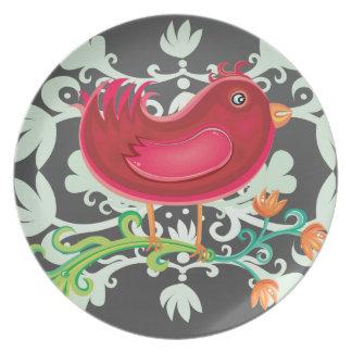 Red Weird Bird Plates