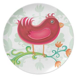 Red Weird Bird Dinner Plates