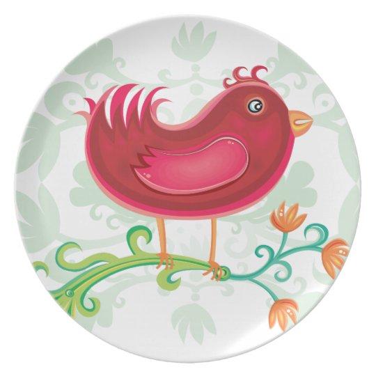 Red Weird Bird Plate
