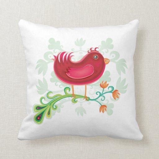 Red Weird Bird Throw Pillows Zazzle
