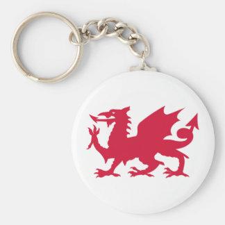 Red Welsh Dragon Basic Round Button Keychain