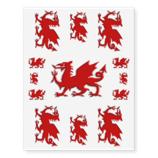 Red Welsh Dragon, embossed-look skin decorating Temporary Tattoos
