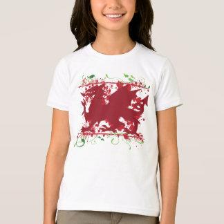 Red Welsh Dragon Girl's Ringer T-Shirt