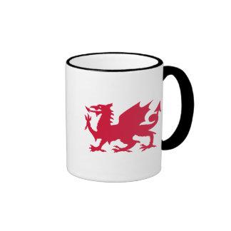 Red Welsh Dragon Ringer Coffee Mug