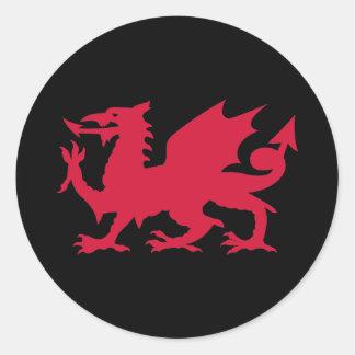 Red Welsh Dragon Round Sticker