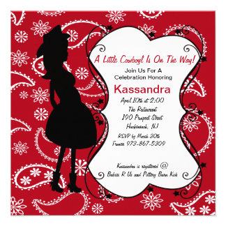 Red Western Mother to Be Baby Shower Invitation