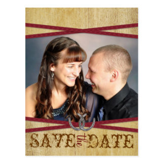 Red Western & Wood Save the Date Postcard
