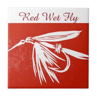 """Red Wet Fly"" trout fly tile. Ceramic Tile"