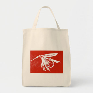 """""""Red Wet Fly"""" Trout Wet Fly Grocery Tote"""