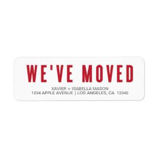 Red We've Moved Label