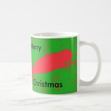 Beach Themed red whale, green merry Christmas mug