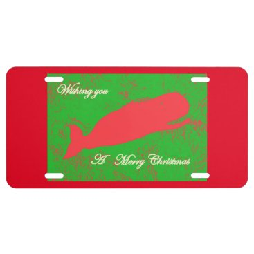 Beach Themed red whale merry christmas custom license plate