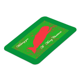 red whale on green merry christmas magnet