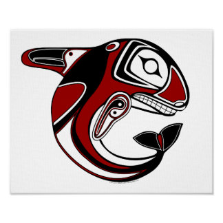 Red Whale Totem Canvas Print