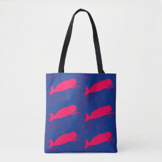 red whales design blue tote bag