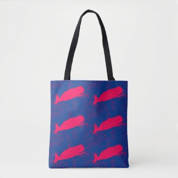 Beach Themed red whales design blue tote bag