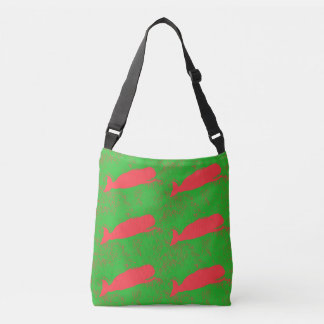 red  whales design green crossbody bag