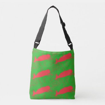Beach Themed red  whales design green crossbody bag