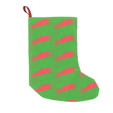 Beach Themed red whales green christmas stocking