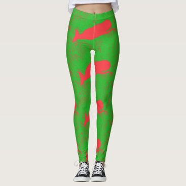 Beach Themed red whales on green leggings
