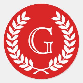Red Wheat Laurel Wreath Monogram Env Seals Round Stickers