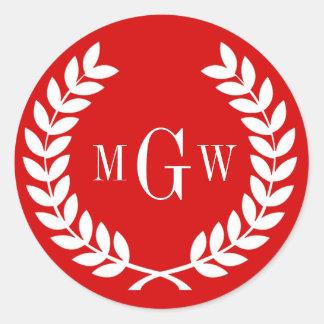 Red Wheat Laurel Wreath Monogram Env Seals Sticker