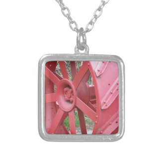 Red Wheel Silver Plated Necklace