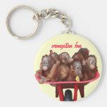 red wheelbarrow orangutan keychain