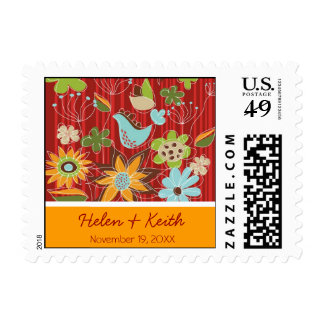 Red Whimsical Floral Garden Summer Wedding Stamps