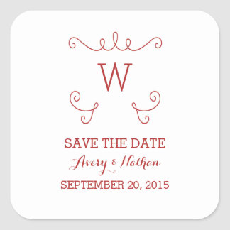 Red Whimsical Flourish Save the Date Stickers