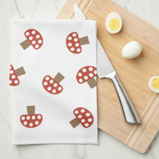 Red Whimsical Mushroom Kitchen Towel at Zazzle