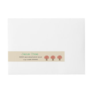 Red Whimsical Mushrooms wrap around address labels