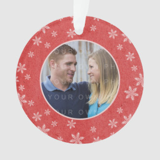 Red Whimsical Snowflakes Holiday Photo Ornament