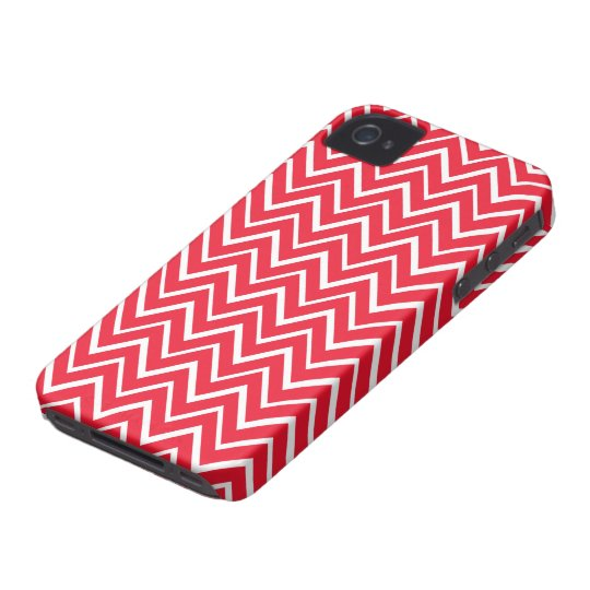 Red whimsical zigzag chevron pattern iPhone 4 case