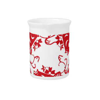 Red Whirling Koi Carp Fish Group Beverage Pitcher
