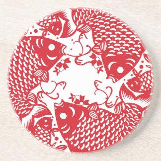 Red Whirling Koi Carp Fish Group Coaster