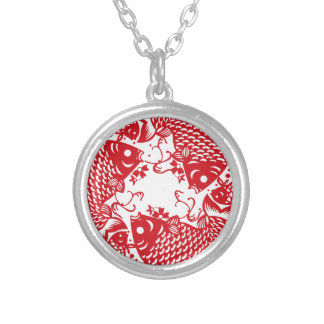 Red Whirling Koi Carp Fish Group R Necklace
